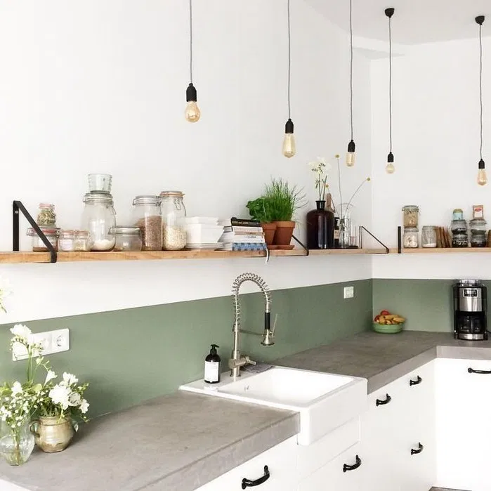 kitchen, white wall, green wall, wooden floating shelves, white kitchen cabinet, grey top cabinet