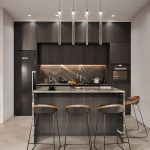 Kitchen, Wooden Floor, White Wall, Black Cabinet, Black Stools, Black Marble Island
