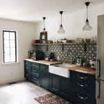 Kitchen, Wooden Floor, White Wall, Black Iron Pendants, Black Kitchen Cabinet, Wooden Top, Black Patterned Backsplash, Wooden Floating Shelves
