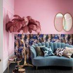 Living Room, Black Wooden Floor, Blue Velvet Sofa, Pink Wall, Patterned Wall, Mirrors, Golden Nesting Side Table