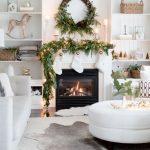 Living Room, Christmas, White Wall, Indented Shelves, White Fireplace, White Socks, Mistletoe, Leave, White Sofa White Round Ottoman