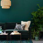 Living Room, Green Wall, Green Velvet Sofa, Coffee Tabes, Rattan Pendant, Green Patterned Rug