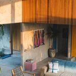 Living Room, Grey Seamless Floor, Grey Sofa, Wooden Chair, Rattan Rug, Seamless Wall