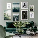 Living Room, Light Green Wall, Green Velvet Sofa, Green Chair, Glass Top Coffee Table