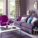 Living Room, Light Purple Floor, Purple Rug, White Coffe Table, Purple Sofa, Pink Chair, Purple Wall, Mirror