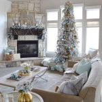 Living Room, Neutral Floor, White Coffee Table, Brown Stone Fire Place, Brown Sofa, Christmas Tree
