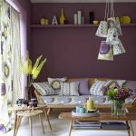 Living Room, White Floor Tiles, Purple Wall, Purple Floating Sheles, Wooden Sofa With Purple Patterned Cushion, Wooden Coffee Table, Wooden Nesting Side Table, Patterned Pendants,