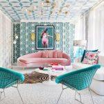 Living Room, White Patterned Floor, White Patterned Wall, Green Patterned Wall, Pink Sofa, White Sofa, Green Chairs, White Floor Lamp