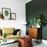 Living Room, White Seamless Floor, White Wall, Green Wall, White Floor Lamp, Wooden Cabinet, Rattan Ottoman, White Coffee Table, Avocado Sofa, White Coffee Table