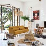 Living Room, White Seamless Floor, White Wall, Yellow Sofa, Rattan Chair, Rattan Coffee Table, Rattan Rug, Rattan Lamp