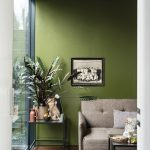 Living Room, Wooden Floor, Green Wall, Glass Side Table, Grey Sofa, Glass Coffee Table