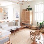 Living Room, Wooden Floor, Rattan Rug, Wooden Bench, Rattan Cabinet, White Sofas, Rattan Rocking Chair, Rattan Rug