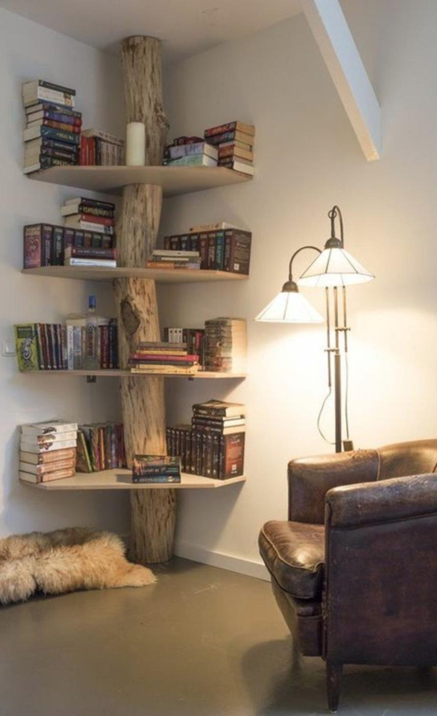 living room, wooden floor, white wall, corner wooden curved shelves, wooden branch