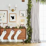 Living Room, Wooden Floor, White Wall, Garland, Wooden Cabinet, White Curtain, White Socks, White Pendant