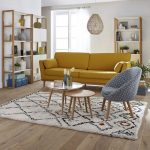 Living Room, Wooden Floor, White Wall, Wooden Shelves, Yellow Sofa, Patterned Cheer, Nesting Wooden Coffee Chair, Rattan Pendant