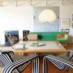 Living Room, Wooden Floor, Wooden Coffee Table, Striped Chair, Green Sofa, White Wall