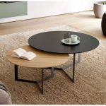 Nesting Table, Black Table, Wooden Table, Black Legs, Rattan Rug, Brown Wooden