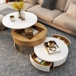 Nesting Table, Wooden Table With White Movable Top, White Table With Draers, Grey Rug, Brown Sofa