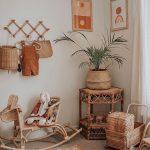 Nursery, Brown Floor, White Wall, Rattan Side Table, Rattan Pot, Rattan Toys, Wooden Hooks
