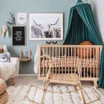 Nursery, Grey Floor, White Wall, Blue Wall, Wooden Crib, Rattan Rocking Toys, White Chair, Green Curtain