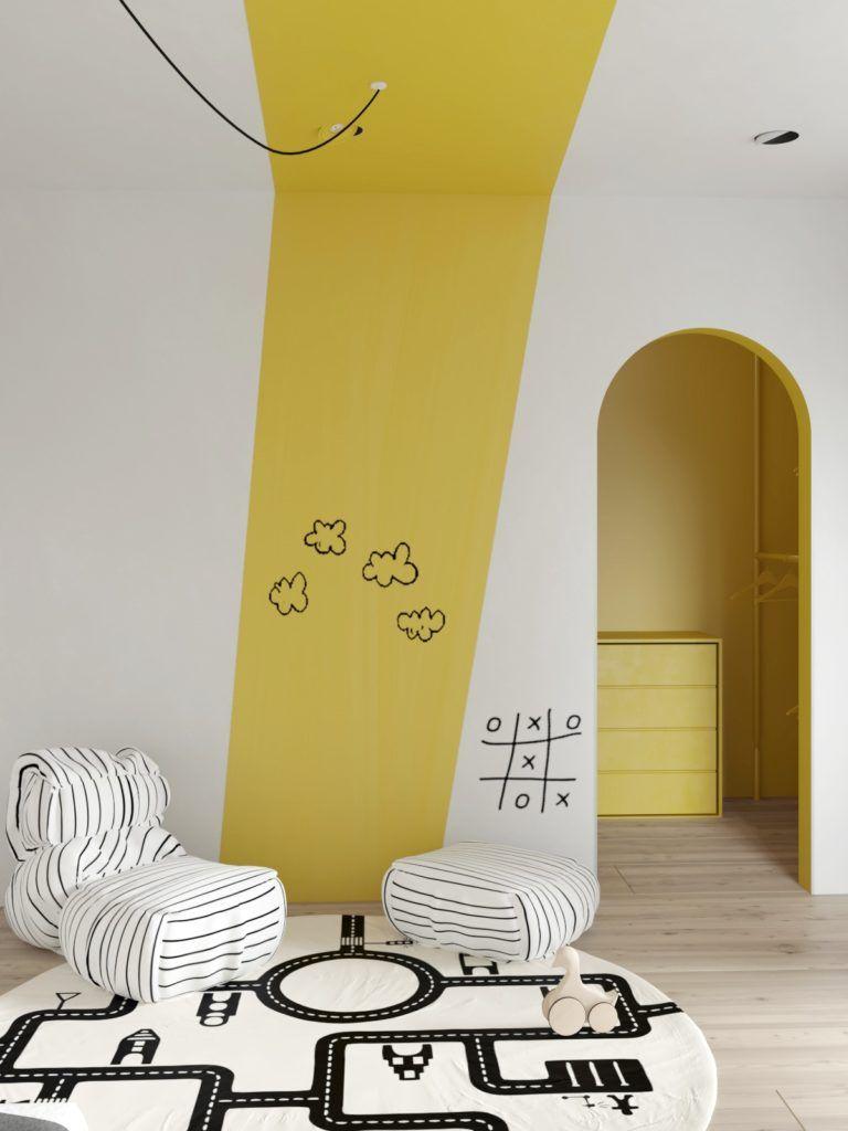 nursery, white wall, yellow, white ottoman, white round rug, yellow cabinet