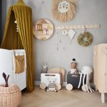 Nursery, Wooden Cabinet, White Crib, Wooden Boxes, Olive Green Curtain, Wooden Hanging Rods, Rattan Box
