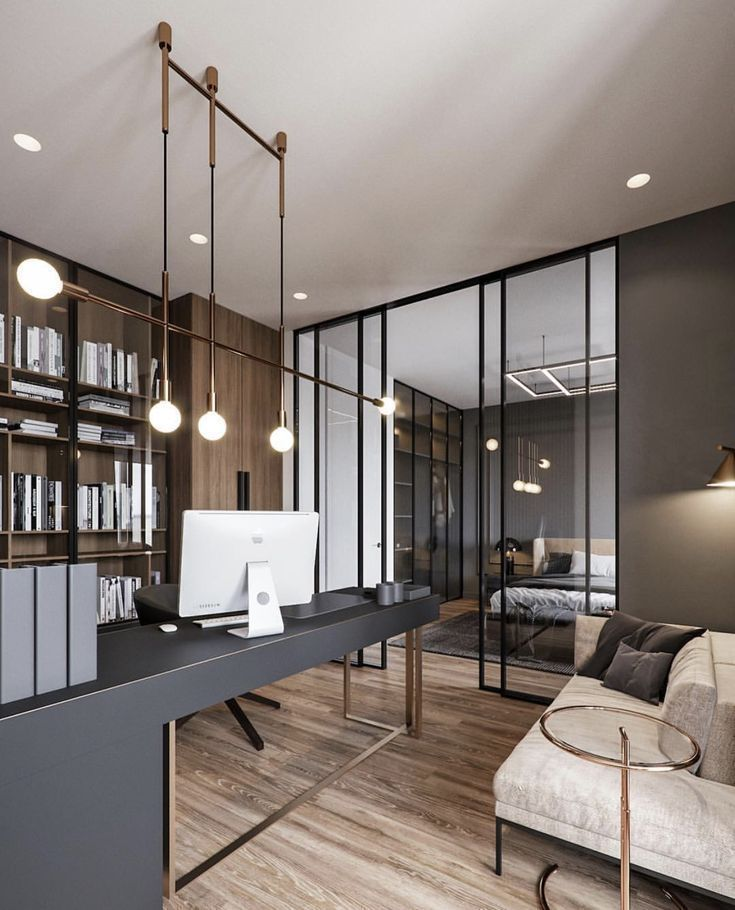 office, wooden floor, wooden cabinet, shelves, grey table, black chair, white sofa