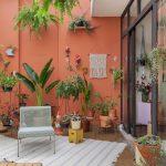 Patio, Brown Floor, Orange Pink Wall, White Rattan, Pots