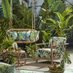 Patio, Plants And Trees, Wooden Chair With Plants Pattern, Rattan Swing With Plants Cushion, Rattan Coffee Table, Rattan Rug, Plant Rug