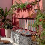 Patio, White Floor, Pink Wall, White Stones Bench, Striped Pink Cushion, Pink Pots