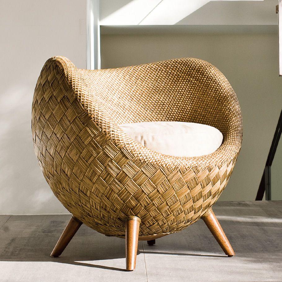 rattan chair in half egg shape, wooden legs