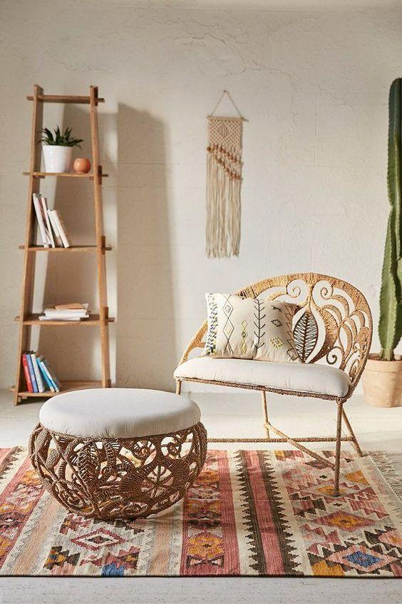 rattan chair with half round back, white cushion, rattan ottoman, white cushion