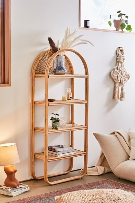 rattan shelves with curve corner