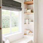 Reading Nook, Wooden Floor, White Wall, White Built In Bench, White Cushion, White Shelves, Glass Window