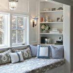 Reading Spot, White Wall, White Built In Shelves, White Built In Bench, Grey Cushion, Pendant, Sconce