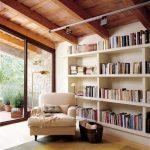 Reading Spot, Wooden Floor, White Wall, White Shelves, Wooden Ceiling, White Lounge Char, Golden Lamp