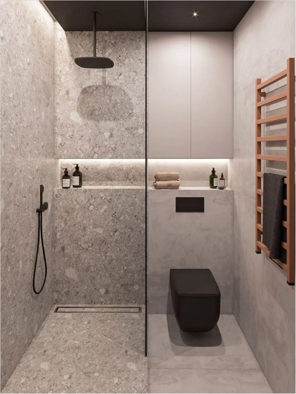 small bathroom, grey marble floor and wall in shower area, grey floor and wall in toilet area, black toilet, wooden rack