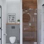 Small Bathroom, White Floor, Wooden Floor, Wooden Wall, White Wall, White Subway Wall, Patterned Wall, White Floating Toilet, Glass Partition