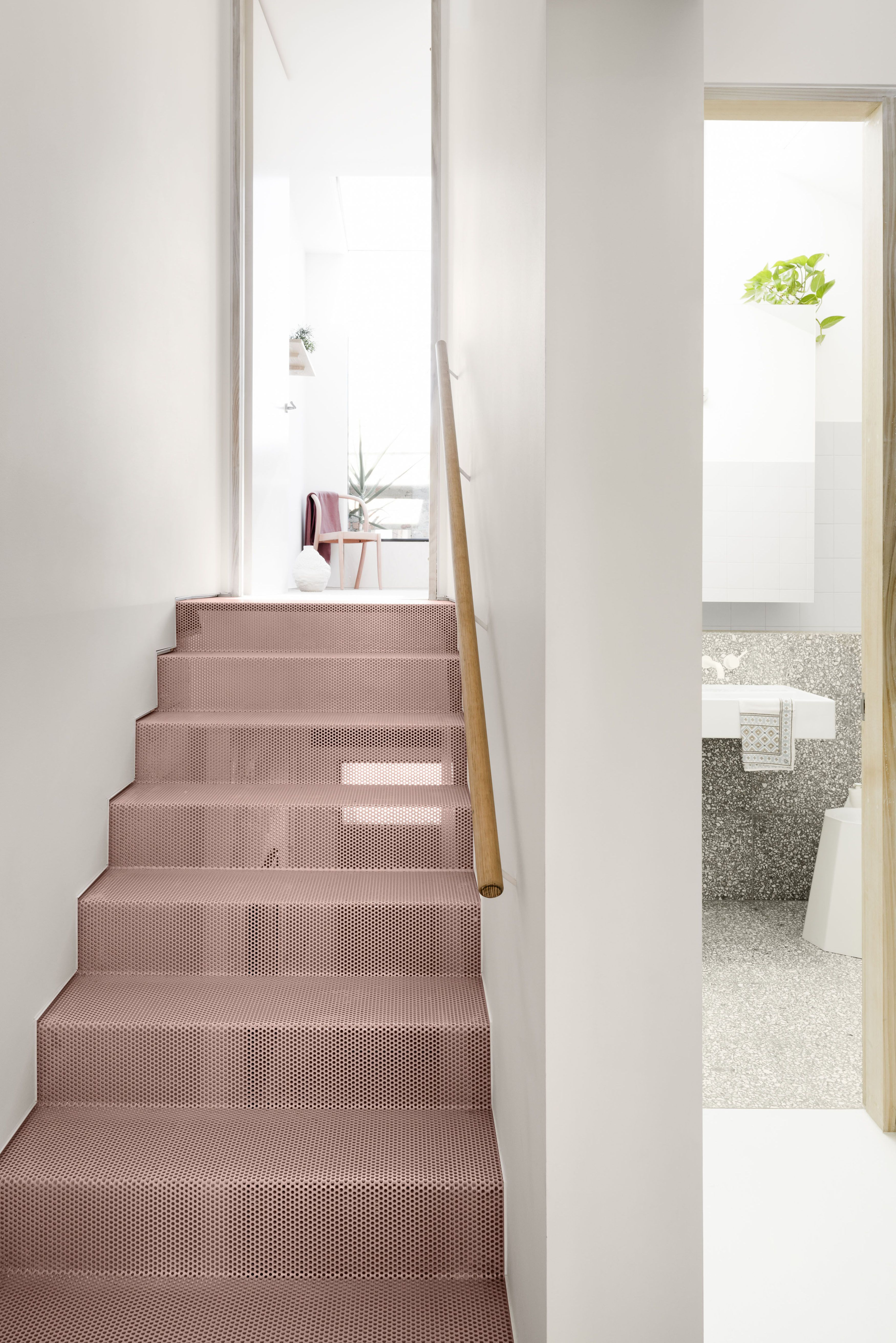 stairs, pink metal stairs, white wall