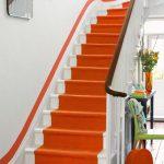 Stairs, White Stairs, Orange Carpet, Orange Line On White Wall