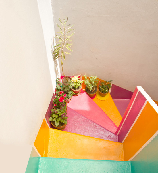 stairs with colorful colors and white wall