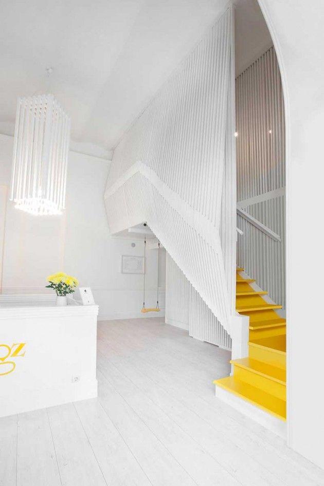 stairs, yellow stairs, white grid