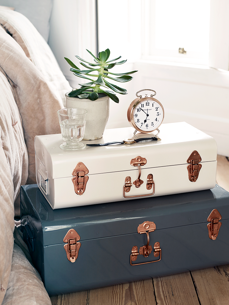suitcases fot nightstand, white and blue
