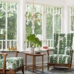 Sunroom, Blue Patterned Floor, White Wall, Wooden Chair With White Green Cushion, Wooden Side Table, Modern Chandelier