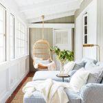 Sunroom, Brown Floor Tiles, Rattan Rug, Blue Lounge Chairs, Rattan Swing, White Wall