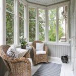 Sunroom, White Floor, Grey Shiplank Wall, White Framed Windows, Rattan Chairs, White Floating Side Table
