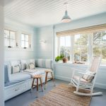 Sunroom, Wooden Ceiling, Wooden Wall, Wooden Built In Bench With Light Cushion, White Wooden Rocking Chair, Glass Window