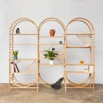 Three Adjoined Rattan Shelves With Curve On Top And Bottom
