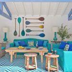 Turquoise Sofa, Blue And Turquoise Pillows, White Turquoise Zigzag Striped Rug, Wooden Table, Wooden Stools, White Wall, White Wooden Ceiling