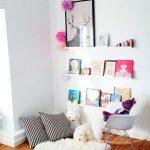 White Reading Corner, Wooden Floor, White Wall, White Wooden Display Shelves, Rocking Chair